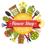 Flower shop poster Royalty Free Stock Image