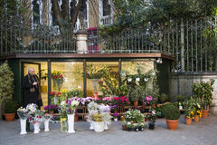 Flower shop. A pretty flower shop in a corner Stock Images