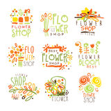 Flower Shop Red Yellow And Green Colorful Graphic Design Template Logo Set, Hand Drawn Vector Stencils Stock Image