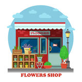 Flower shop or store side view. On building exterior with leatherleaf-fern in flowerpot and may-lily in wooden box, cactus. For trading and shopping, business royalty free illustration