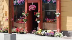 Flower Shop at Street stock video footage
