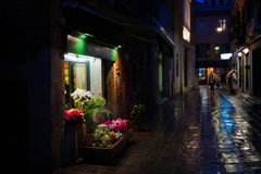 Flower shop in Venice at night Royalty Free Stock Images