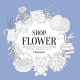 Flower Shop Vintage Sketch Royalty Free Stock Images
