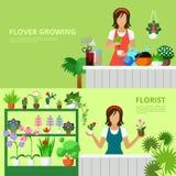 Flower shop website banner hero image vector flat style set Stock Image