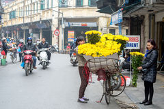 Flower shop on wheels in Hanoi Stock Image