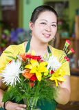 Flower Shop Worker Creating Arrangement Royalty Free Stock Photography