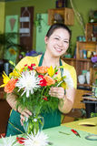 Flower Shop Worker Making Arrangement Royalty Free Stock Photos