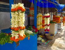 Flower shops outside a Hindu Temple in Mumbai India Royalty Free Stock Photography