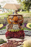 Flower show - Ukraine, 2012. The fragment of the flower composition made of leaves and flowers at the 57th annual flower exhibition in Kiev, Ukraine on September Royalty Free Stock Photo