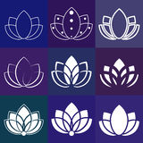 Flower sign: lotus silhouette  for yoga studios. Royalty Free Stock Photos