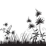 Flower silhouette. Illustration drawing of beautiful black flower pattern Stock Photos