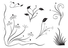 Flower silhouette set. Set of silhouettes of different flowers in white background. vectorová draft for various uses Stock Image