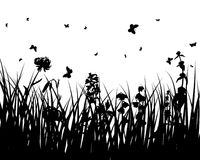 Flower silhouettes Royalty Free Stock Images