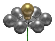 Flower of silver and golden light bulbs on green wire Royalty Free Stock Photography