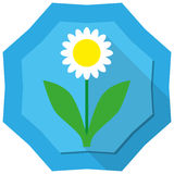 Flower. Simple flower illustration on blue badge background Royalty Free Stock Photos