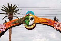 Flower and skeleton arch entrance to Dia de los Muertos Royalty Free Stock Photos