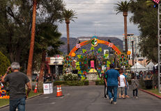 Flower and skeleton arch entrance to Dia de los Muertos Royalty Free Stock Photo
