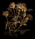 Flower sketch on black Royalty Free Stock Photos