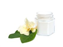 Flower and skincare. Small jar, in him cosmetic, beside it flower and green leaves royalty free stock photo