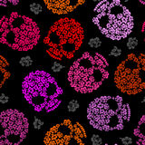 Flower skull Pattern. Scary and cute Vector background Stock Photography