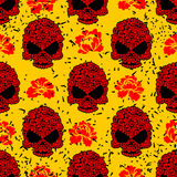 Flower skull seamless pattern in grunge style.  Royalty Free Stock Images