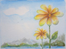 Flower and Sky Background Hand Painted Illustration Stock Photos