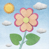 Flower and sky  recycled  papercraft Royalty Free Stock Image