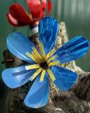 A plastic flower - red and blue and gold flowers. A flower, sometimes known as a bloom or blossom, is the reproductive structure found in flowering plants. The royalty free stock photography