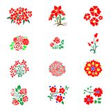 Vector pattern with flowers and plants. 12 Spring floral decor. 12 Vector pattern of Cute Flower in Spring Royalty Free Stock Photos