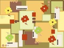 Flower and square. On khaki background stock illustration