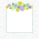 Flower square card template vector. royalty free illustration