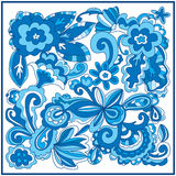 Flower square modern blue Stock Photo