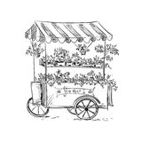 Flower stall, Florist cart. Vector illustration Royalty Free Stock Photos