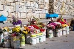 Flower stall in Huaraz, Peru stock photo