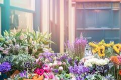 Flower stall retro style Royalty Free Stock Photos