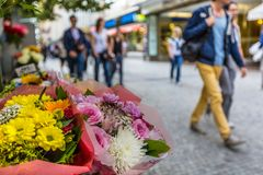 Flower stand in the center of Prague stock image