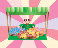 Flower stand. A cute clip art picturing a flower stand with a smiley guy Stock Image
