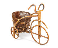 Flower stand in the form of a bicycle made from rattan. Right view Stock Photo