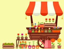 Flower stand with spring garden flowers Royalty Free Stock Image
