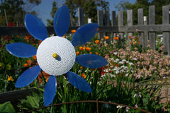Flower Standout. A plastic flower pinwheel blows in the wind in a community garden stock photos