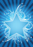 Flower star design. Flower design with blue star Royalty Free Stock Photo