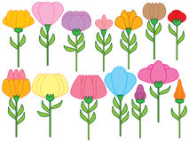 Flower Stem Icon Set Stock Images