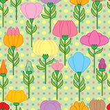 Flower Stem Set Seamless Pattern Stock Photography