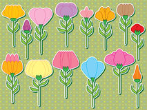 Flower Stem Set Sticker Stock Image
