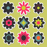 Flower stickers for scrapbook Royalty Free Stock Photography