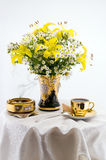 Flower still life. With coffee cup stock photo