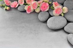 Flower and stone zen spa on grey background Royalty Free Stock Photography