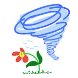 Flower in a Storm. On White background Stock Images