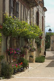 Flower street. French village street with flowers Stock Photography
