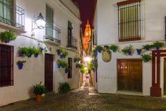 Flower street Calleja de las Flores Cordoba, Spain Stock Images